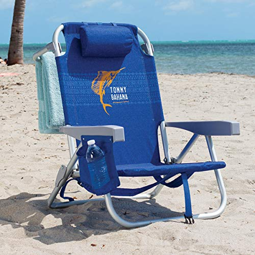 Tommy Bahama Backpack Chair - Insulated Cooler Pouch - 5 Positions (Blue)