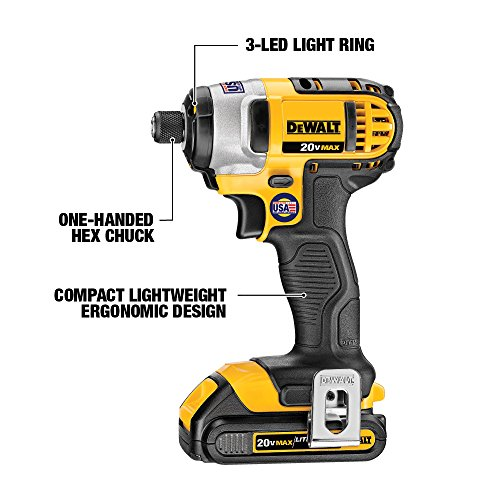 DEWALT DCK285C2 20-Volt MAX Li-Ion Compact 1.5 Ah Hammer Drill and Impact Combo Kit - Yellow