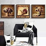 Impresiones en lienzo Retro Clásico Libro de flores Impresión Cartel nórdico Imágenes artísticas de pared vintage para sala de estar Dormitorio Decoración para el hogar-30x40cmx3 Sin marco