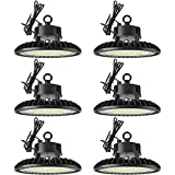 Sunco Lighting 6 Pack UFO LED High Bay, 150W, 600W HID Replacement, 21,000 LM, 5000K Daylight, Dimmable 1-10V, IP65 Waterproof, Commercial Grade Lighting, Warehouse Light - UL, DLC