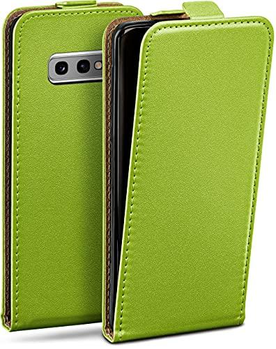 moex Flip Hülle für Samsung Galaxy S10e - Hülle klappbar, 360 Grad Klapphülle aus Vegan Leder, Handytasche mit vertikaler Klappe, magnetisch - Grün