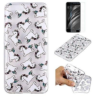 QFUN Funda Xiaomi 6 Silicona Transparente, Suave Carcasa Flexible con Dibujos [Unicornio] Ultra Slim Fina Gel TPU Bumper Case Anti-rasguños Antigolpes Cubierta y Protector Pantalla