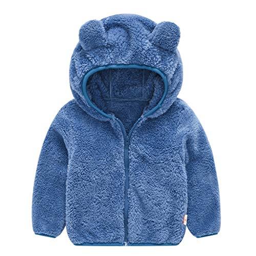 Baby Boys Girls' Micro Fleece Jacket Lined Hoodies Kids Warm Solid Zipper Up Coat Unisex Infant Bear Sweater LIM&Shop Blue