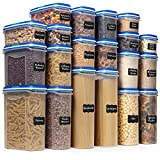 Shazo Food Storage Containers 40-Piece Set (20 Container Set) - Airtight Dry Food with Innovative Dual Utility Interchangeable Lid, One Lid Fits All, Freezer Safe, Pantry Organization and Stackable
