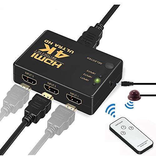 HDMI切替器 MVOWIZON 4Kx2K HDMI分配器 セレクター 3入力1出力 金メッキコネクタ搭載1080p 3D対応(メス→オス) 電源不要 Chromecast Stick Xbox One ゲーム機 レコーダー パソコン PS3 PS4 Xbox 3D 液晶テレビなどの対応 (3入力1出力)