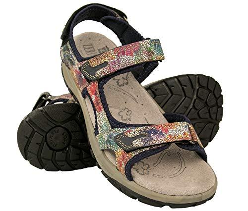Zerimar Sandalias Trekking Velcro | Sandalias Verano Mujer | Sandalias Trekking Cuero | Sandalias de Piel | Sandalias Deportivas Piel | Color: Multicolor Talla 39