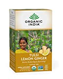 Organic India Tulsi Lemon Ginger Herbal Tea - Stress Relieving & Reviving, Immune Support, Aids Digestion, Vegan, USDA Certified Organic, Non-GMO, Caffeine-Free - 18 Infusion Bags, 1 Pack