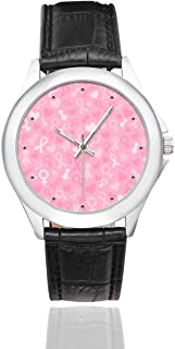 InterestPrint Breast Cancer Ribbon and Ballet Girl Waterproof Women's Stainless Steel Classic Leather Strap Watches, Black