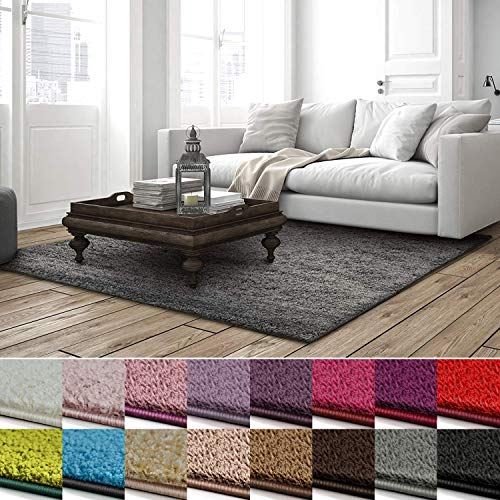 casa pura Shaggy Teppich Barcelona | weicher Hochflor Teppich für Wohnzimmer, Schlafzimmer, Kinderzimmer | GUT-Siegel + Blauer Engel | Verschiedene Farben & Größen | 100x150 cm | Grau