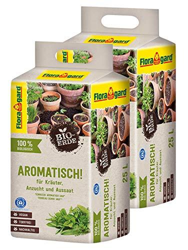 Floragard Bio-Erde Aromatisch 2x25 Liter- für Anzucht und Aussaat sowie für Kräuter - torffrei und vegan