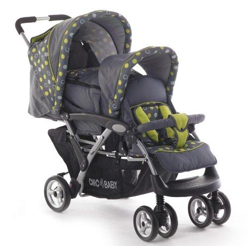 CHIC 4 BABY Poussette double Duo avec porte-bébé et habillage anti-pluie, différents Designs