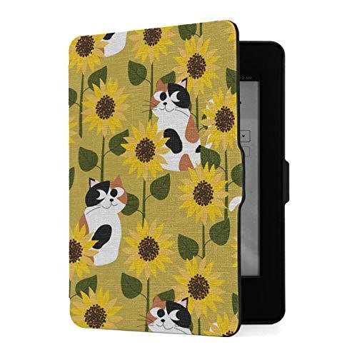 Estuche Slimshell para Amazon Kindle Paperwhite1 / 2/3 con Auto Sleep/Wake, Cubiertas para lectores de Libros electrónicos Calico Cat Sunflower Field