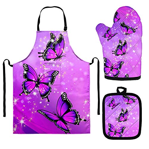 Babrukda 3Pcs Purple Bling Butterfly Pot Holders Oven Mitts Bib Apron Set Anti-Slip Heat Resistant Oven Gloves Potholder Waterproof Apron Decor Protective Kitchen Accessiores Gift for Girls Women Mom