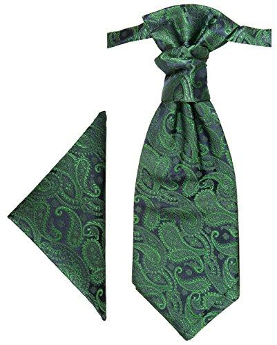 Paul Malone Plastron Set grün paisley 2tlg Plastron mit Einstecktuch - Hochzeit Krawatte