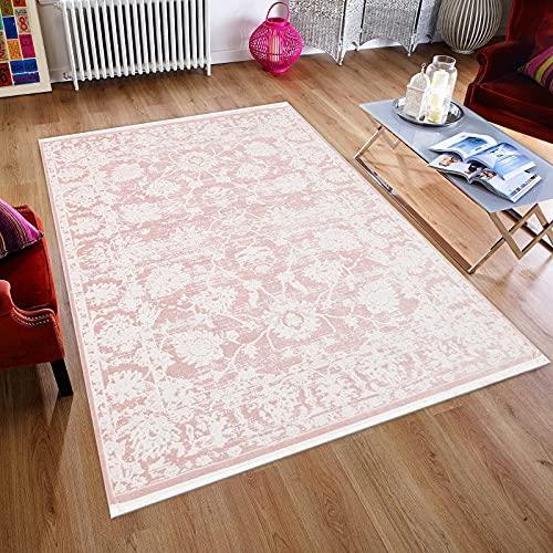 Boho Vintage - Alfombra de diseño moderno y suave para salón, fácil cuidado, no destiñe, aspecto de seda, elegante, brillo noble, hecho a mano, antideslizante, patrón rosa, 80 x 150 cm