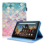 Fire HD 8 Case DTangLsm Slim Leather Folio Cover Case for Amazon Kindle Fire HD 8 Tablet (8th/7th/6th Generation, 2018/2017/2016 Release) NOT Fit All-New Fire HD 8 10th Gen & HD 8 Plus 2020, FishScale