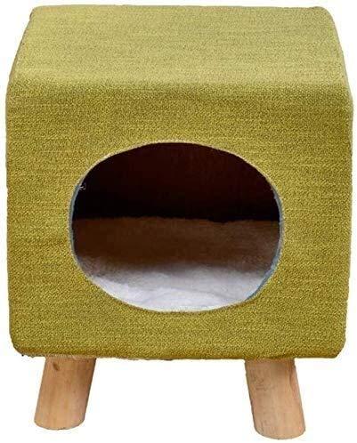 Wxxdlooa Columpio heces del Gato Presidente, la Sala de Estar Dormitorio Asiento del Juguete del Gato de Madera Maciza de algodón y Lino casa del Gato (Color : B)