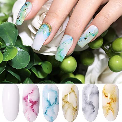 BORN PRETTY Blossom Nail Polish, Magic Blooming Gradient Color Nail Polish manicuring Kit Watercolor Ink Marble Nail Art Design, 6...