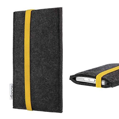 flat.design Handy Hülle Coimbra kompatibel mit BlackBerry KEY2 Red Edition passexakt Handytasche Filz Tasche fair schwarz gelb
