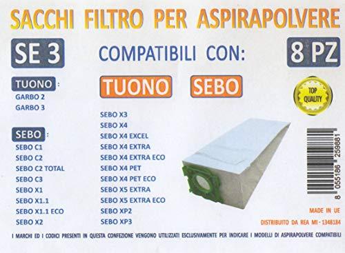 MFSE3 CONF 8PZ Sacchi SEBO Tuono Compatibile con I Modelli INDICATI nella Foto