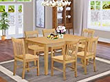 East West Furniture CANO7-OAK-W Wooden Dining Table Set 7 Pc - Wooden Chairs Seat - Oak Finish Kitchen Table and Structure