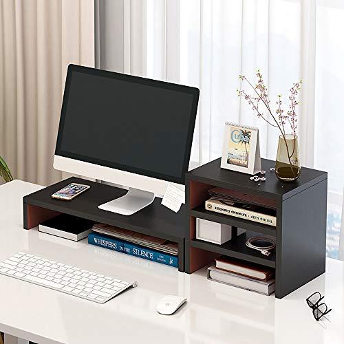 LXDDP Support d'écran en Bois avec étagère de Rangement - PC TV Ordinateur Portable Ecran Riser Bureau Rangement - Dortoir pour étudiants Simple et Moderne Bureau Bureau Petite bibliothèque