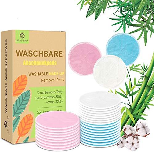 Abschminkpads Waschbar Wiederverwendbare Wattepads-26 Stück Waschbare Abschminkpads aus Bambus und Baumwolle, Soft&Umweltfreundlich Abschminktücher zur Gesichtsreinigung mit Aufbewahrungstasche