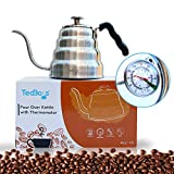 Gooseneck Coffee Kettle with Built-in Thermometer Glass Lid Premium Quality Stainless Steel Stove Top Pour Over Coffee Maker Tea Kettle 40oz / 1.2L