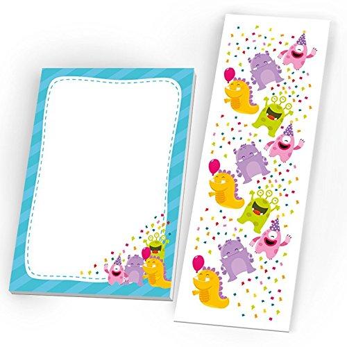 Mitgebsel Set aus 12 Lesezeichen + Mini-12 Notizblöcke lustige Monster / Geschenk für Kindergeburtstag Hochzeit Taufe Geburtstag Jungen Mädchen