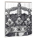 Blived Cortina de baño,Impermeable,Antiguo Royal Crown Kingdom Emperador Gobernante Zar Símbolo Monarquía Autoridad Icono,Cortina de Ducha de con Ganchos 150cmx180cm