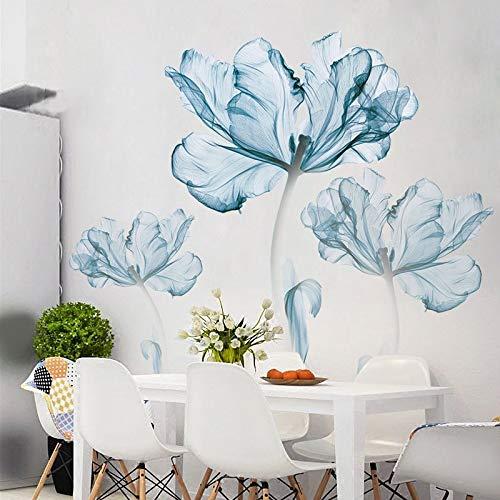 Pegatinas de pared 3d azul flor sala de estar decoración vinilo pared...