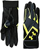 Under Armour Boys' Clean-Up VI Baseball Batting Gloves,Stealth Gray (009)/High-Vis Yellow,Youth Small