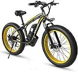 RDJM Bici electrica Adulto Fat Tire Bike Electric Mountain, 26 pulgadas ruedas, marco ligero de aleación de aluminio, delantero Suspensión, frenos de disco doble, eléctrico bicicleta de trekking for e