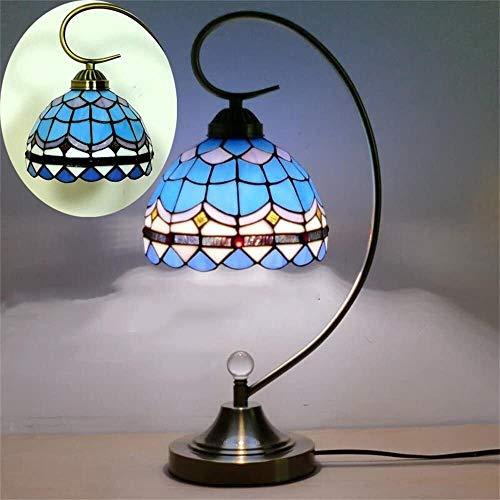 Lámparas de escritorio FHW Lámpara de Mesa de Cristal de Color Retro Pastoral Europeo lámpara de Noche lámpara de Cama Sala de Estar decoración lámpara de Mesa