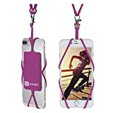 Gear Beast Universal Cell Phone Lanyard Compatible with iPhone, Galaxy & Most Smartphones Includes Phone Case Holder with Card Pocket, Silicone Neck Strap (Spring Crocus (R))