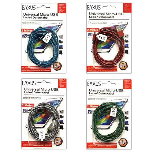 Eaxus 4er Set Micro USB Kabel 2m Nylon Ladekabel Datenkabel Sync Handy Tablet Universal USB-Ladegerät Transferkabel Lade Kabel Blau Grün Rot Silber