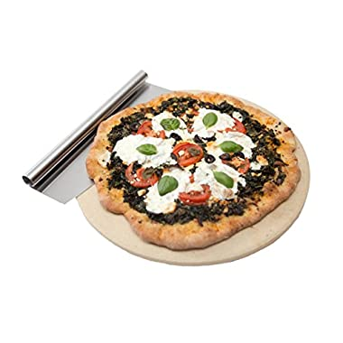 Extra Thick Best Pizza Stone Set for Oven or Grill Certified Food Safe. Thermal Shock Resistant. 15'' Circular Stone Comes With Free Gourmet Stainless Steel Pizza Cutter