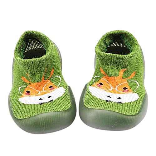 Zapatos de bebé para aprender a andar, zapatos para niños, zapatos de bebé, antideslizantes, suelo suave, calcetines de dibujos animados, transpirables, para el suelo, verde, 25