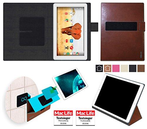 reboon Hülle für Archos 101 Magnus Tasche Cover Case Bumper | in Braun Leder | Testsieger