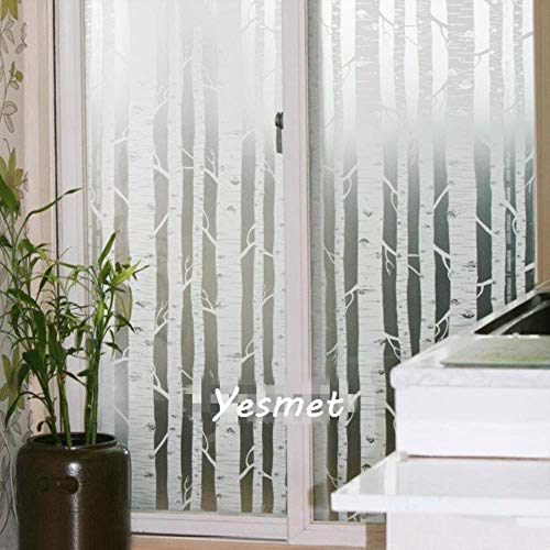Glasfolie Glasstickers Gekleurd Zelfklevende Decoratieve Witte Boom voor thuis Breedte 60 cm / 75 cm / 85 cm lang 2 m, breedte 60 cm