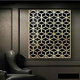 Golden Geometric Wall Art Canvas Painting Modern Home Carteles e impresiones Decorar Imágenes Sala de estar 50x70cm