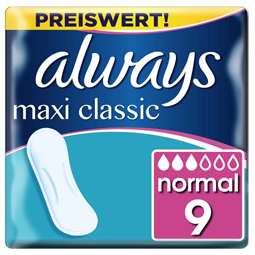 Always Maxi Classic Damenbinden ohne Flügel (9 Stück) sicherer Schutz an allen Tagen der Periode, weich & sanft zur Haut