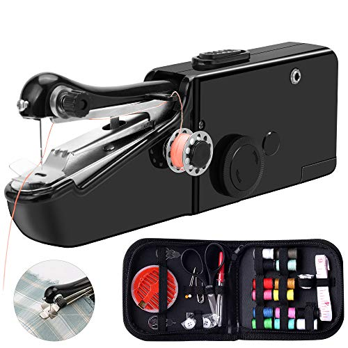 ONESING 47 Pcs Handheld Sewing Machine Portable Sewing Machine Mini Sewing Machine Kit, Mini Handy Cordless Electric Sewing Machine, Quick Repairing Suitable for Denim Curtain Leather DIY