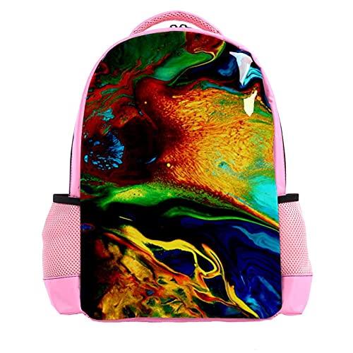 YATELI Mochila ligera para la escuela,Pintura de fluido colorido pájaro del paraíso , Mochila informal clásica básica resistente al agua para viajes con bolsillos laterales para botellas