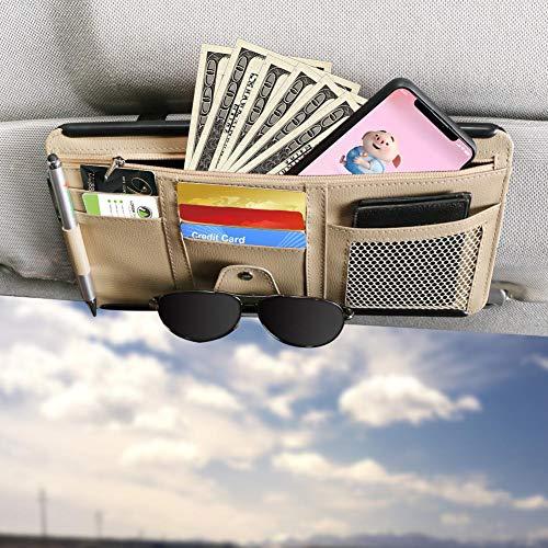 Car Sun Visor Organizer, Auto Interior Accessories Pocket Manager - Car Truck SUV Storage Pouch Holder, with Multi-Pocket Net Zipper (Beige)