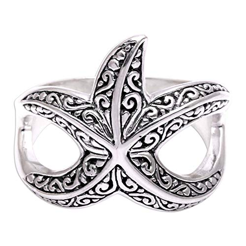 NOVICA .925 Sterling Silver Ring, Bali Starfish'