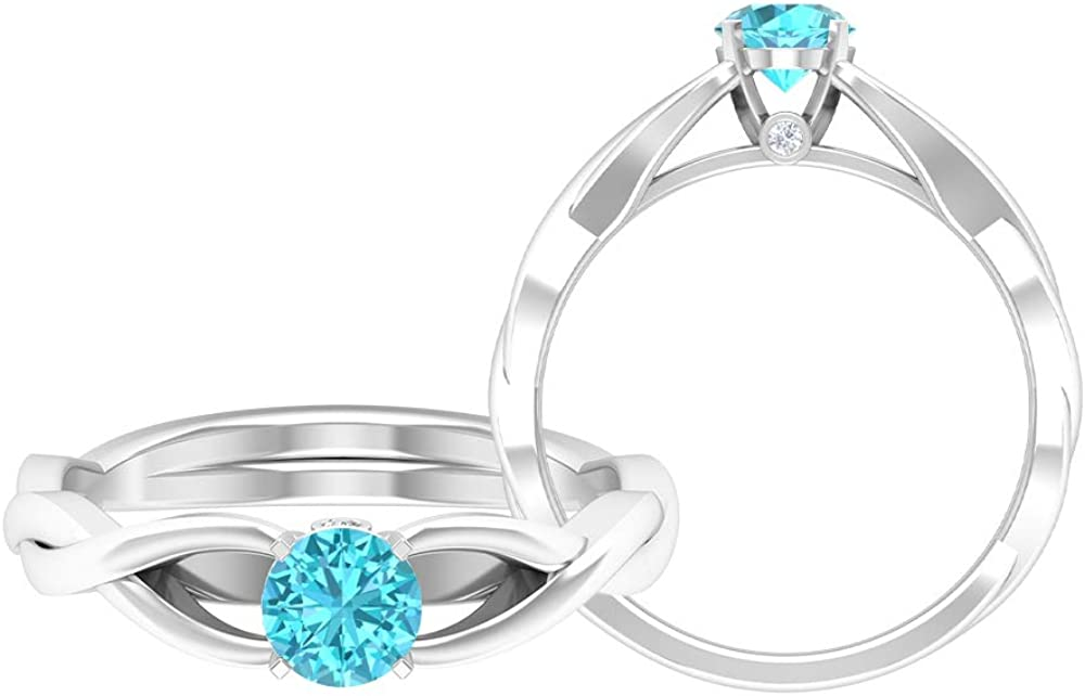 5 MM Swiss Blue Topaz Ring, HI-SI Diamond Engagement Ring, Crossover Wedding Ring, Solid Gold Solitaire Ring, 14K Gold