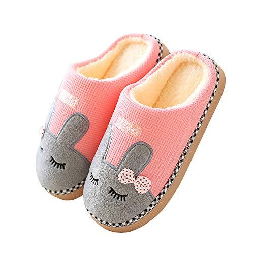 Cliont Nette Katze Hausschuhe Indoor Winter Hausschuhe rutschfeste Schuhe Frauen und Männer 37/38 EU Hase Rosa