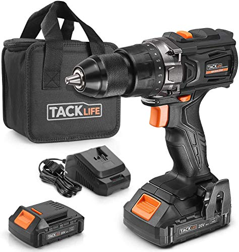 TACKLIFE Brushless Cordless Drill 20V, 1 Hour Fast Charge, 50Nml, 2.0Ah Lithium ion Battery, 19+1 Clutch, 2 Variable Speeds - BLPCD01B
