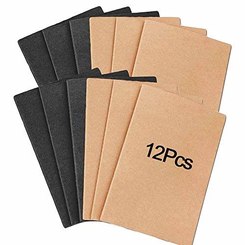 Taccuini Kraft, 12 Pezzi A5 Foderato Blocco Note, Quaderno per Studenti, Blocco Note in Cartone, Taccuino Classico, Adatto per Prendere Appunti, Disegnare, Scarabocchiare, Studiare, Lavorare